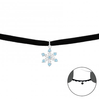 Snowflake - Velvet + 925 Sterling Silver Chokers necklace A4S35033