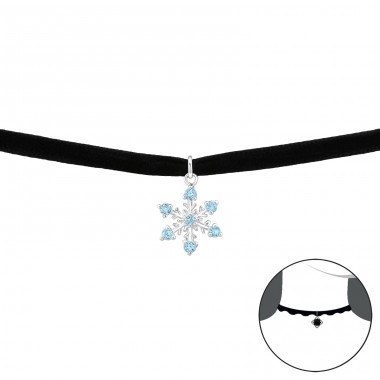 Snowflake - 925 Sterling Silver + Velvet Chokers necklace A4S35033