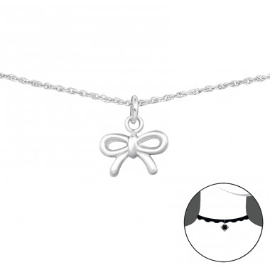 Bow - 925 Sterling Silver Chokers necklace A4S35105