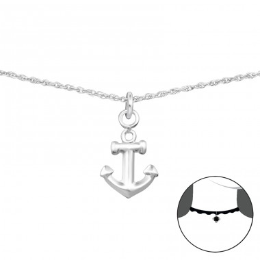 Anchor - 925 Sterling Silver Chokers necklace A4S35136