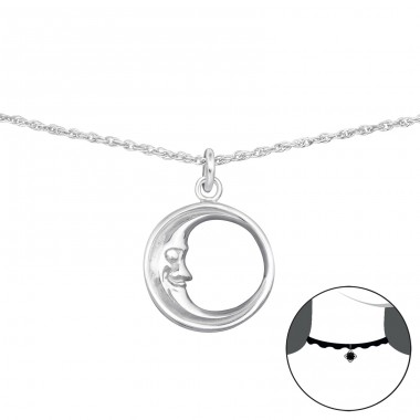 Moon - 925 Sterling Silver Chokers Necklace A4S35137