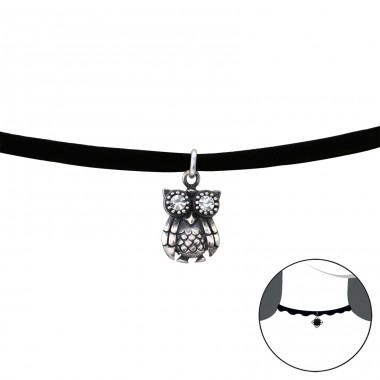 Owl - 925 Sterling Silver + Velvet Chokers necklace A4S35164