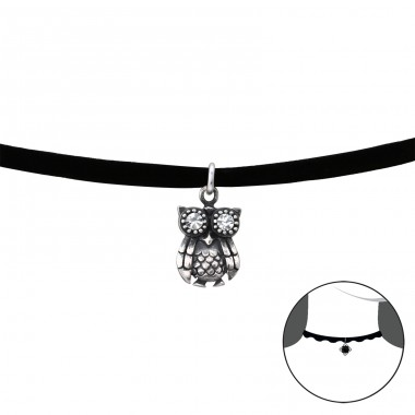 Owl - Velvet + 925 Sterling Silver Chokers necklace A4S35164