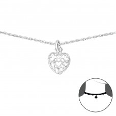 Heart - 925 Sterling Silver Chokers Necklace A4S35387
