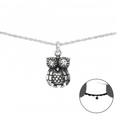 Owl - 925 Sterling Silver Chokers necklace A4S36055
