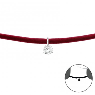 Round - Velvet + 925 Sterling Silver Chokers necklace A4S37127