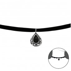 Pear - 925 Sterling Silver + Velvet Chokers necklace A4S37128