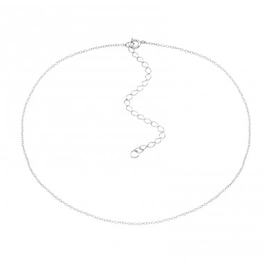 Silver Choker 38cm Cable Chain With 8cm Extension Included - 925 Sterling Silver Chokers necklace A4S37382