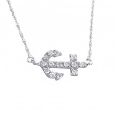 Inline Anchor - 925 Sterling Silver Necklace with stones A4S18473