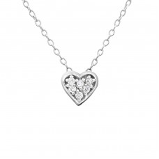 Heart - 925 Sterling Silver Necklace with stones A4S18530