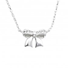 Rose Bow - 925 Sterling Silver Necklace with stones A4S19132