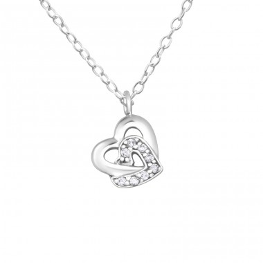 Chained Hearts - 925 Sterling Silver Necklace with stones A4S19301