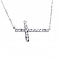 Cross - 925 Sterling Silver Necklace with stones A4S21768