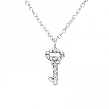 Key - 925 Sterling Silver Necklace with stones A4S21828