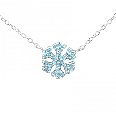 Snowflake - 925 Sterling Silver Necklace with stones A4S22059