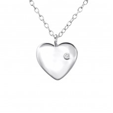 Heart - 925 Sterling Silver Necklace with stones A4S23310