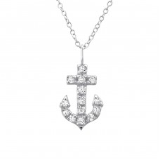 Anchor - 925 Sterling Silver Necklace with stones A4S23535