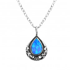 Tear Drop Opal - 925 Sterling Silver Necklace with stones A4S23630