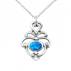 Flower Opal - 925 Sterling Silver Necklace with stones A4S23650