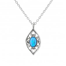 Marquise Opal - 925 Sterling Silver Necklace with stones A4S23656