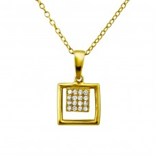 Square - 925 Sterling Silver Necklace with stones A4S23725