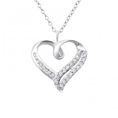Heart - 925 Sterling Silver Necklace with stones A4S23852