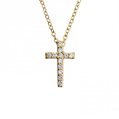 Golden Cross - 925 Sterling Silver Necklace With Stones A4S24285