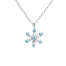 Snowflake - 925 Sterling Silver Necklace with stones A4S24660