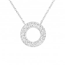 Round - 925 Sterling Silver Necklace with stones A4S26280