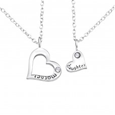 Mother And Daughter - 925 Sterling Silver Necklace with stones A4S26389
