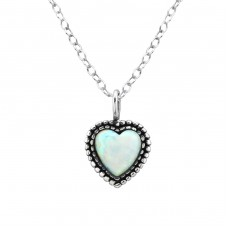Heart Opal - 925 Sterling Silver Necklace with stones A4S27078