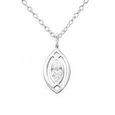 Oval - 925 Sterling Silver Necklace with stones A4S27329