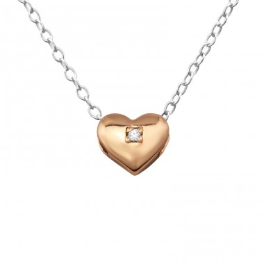Heart - 925 Sterling Silver Necklace with stones A4S27794