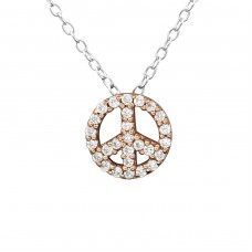 Peace - 925 Sterling Silver Necklace with stones A4S27819