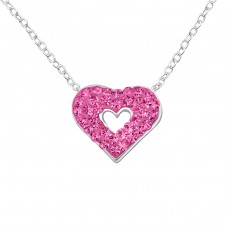 Heart - 925 Sterling Silver Necklace with stones A4S28071
