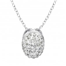 Oval - 925 Sterling Silver Necklace with stones A4S28234