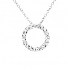 Circle - 925 Sterling Silver Necklace with stones A4S29893