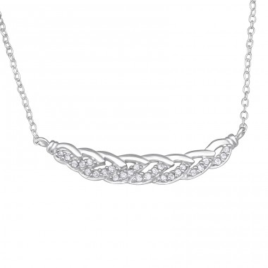 Braided - 925 Sterling Silver Necklace with stones A4S29933