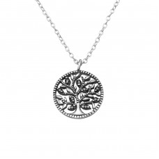Tree Of Life - 925 Sterling Silver Necklace with stones A4S30453