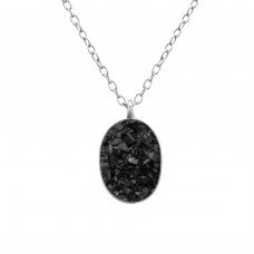 Oval - 925 Sterling Silver Necklace with stones A4S30564