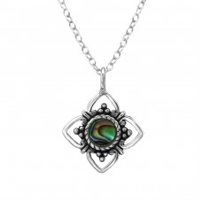 Flower - 925 Sterling Silver Necklace with stones A4S30858