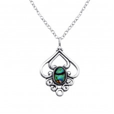 Flower - 925 Sterling Silver Necklace with stones A4S30859
