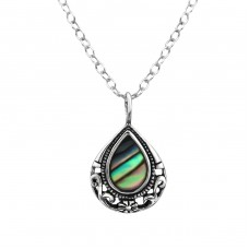 Teardrop - 925 Sterling Silver Necklace with stones A4S30861