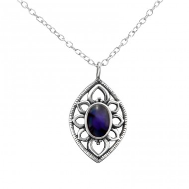 Marquise - 925 Sterling Silver Necklace with stones A4S30863