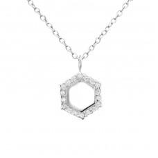 Hexagonal - 925 Sterling Silver Necklace with stones A4S30878