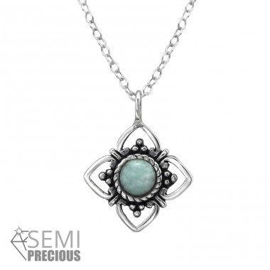 Flower - 925 Sterling Silver Necklace with stones A4S31040