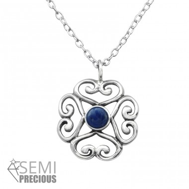 Heart - 925 Sterling Silver Necklace with stones A4S31094