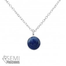 Round - 925 Sterling Silver Necklace with stones A4S31096