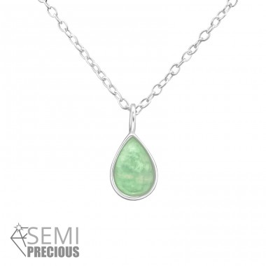 Pear - 925 Sterling Silver Necklace with stones A4S31099