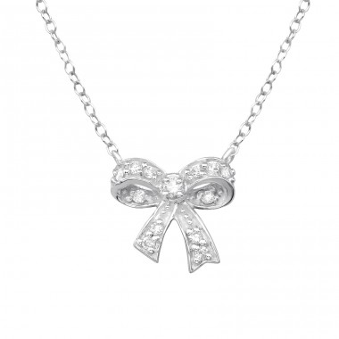 Bow - 925 Sterling Silver Necklace with stones A4S31115